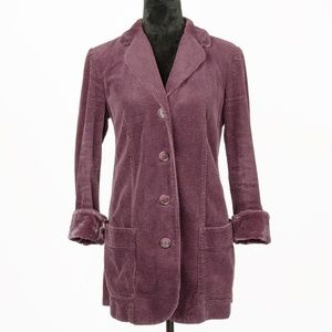 J. Jill Maroon Corduroy Single Breasted Jacket